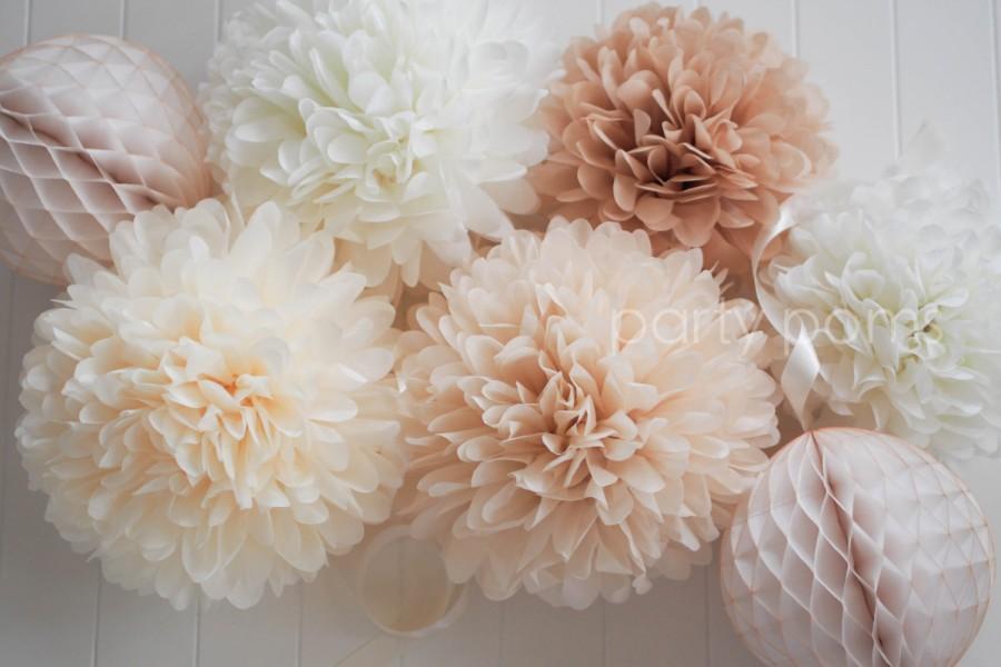 Свадьба - NEUTRALS set of 5 tissue paper pom poms
