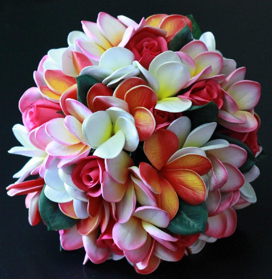 Mariage - The Morgan Real Touch Plumeria and Velvet Rose Beach Wedding Bridal Bouquet in Pinks, Oranges and White.