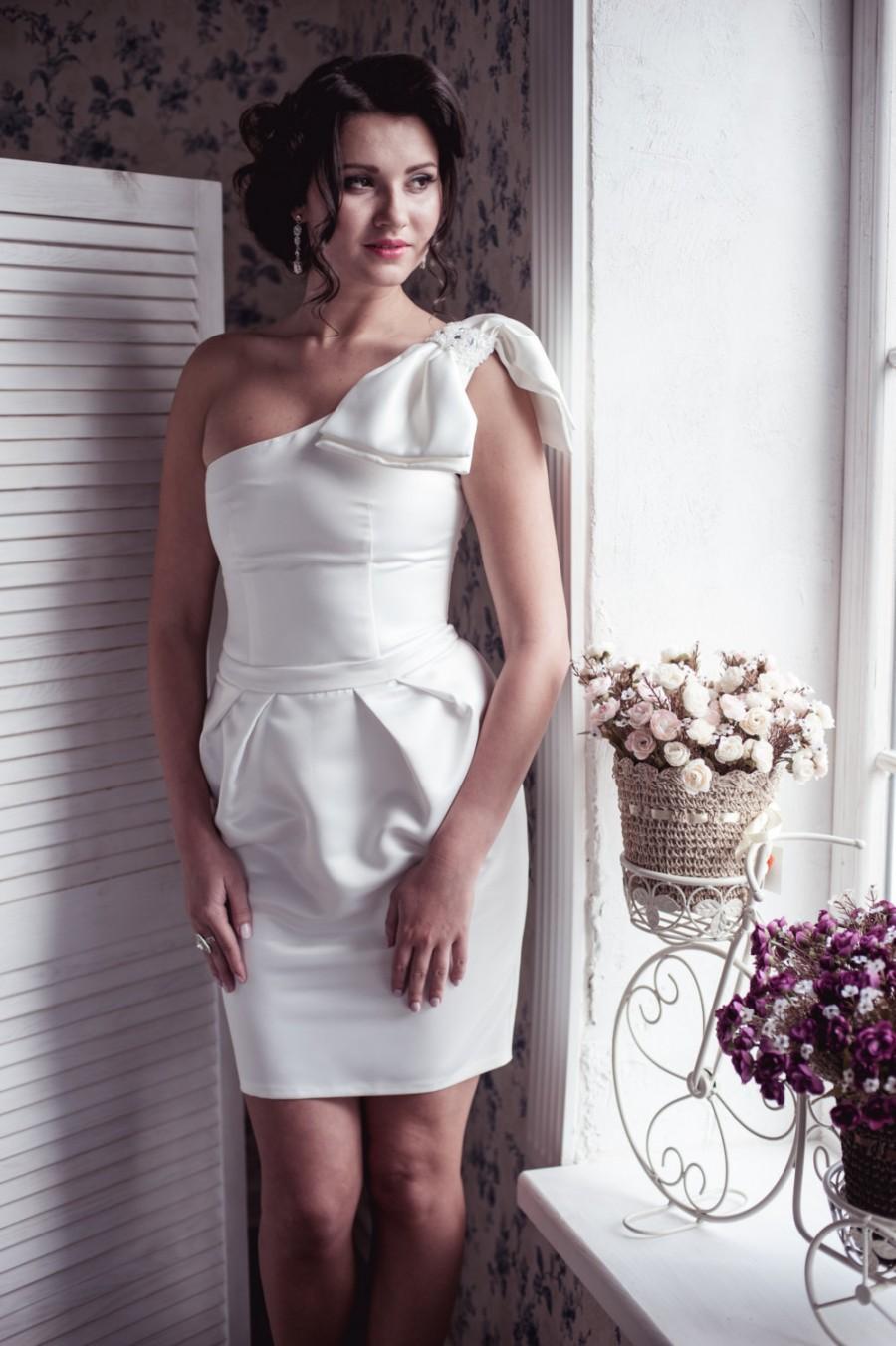 b641ccdaaf ON SALE One-shoulder pleated tulip skirt short wedding dress, little white  dress M9, Romantic wedding gown, Classic bridal dress