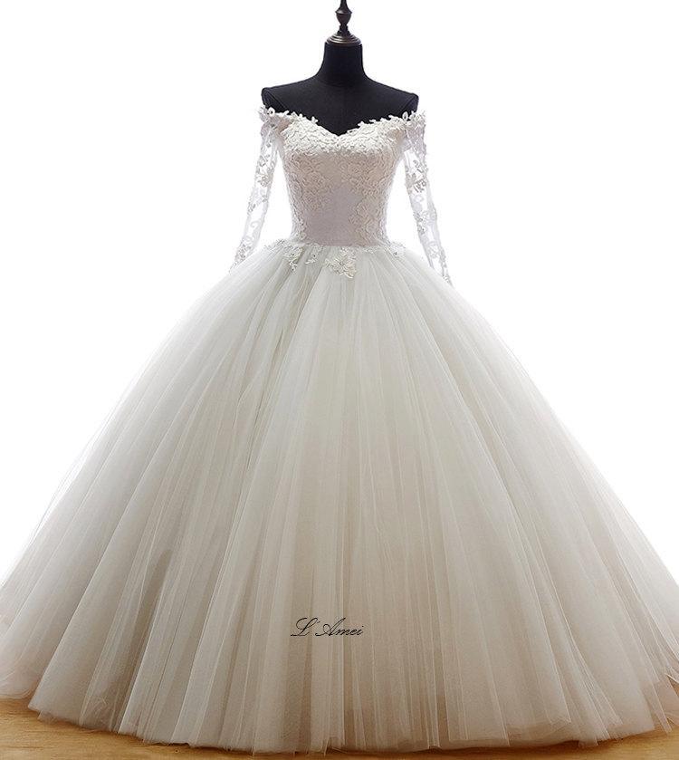 Beautiful Flower Off Shoulder Long Sleeve Knee Length Princess Ball Gown Wedding Dress With Sheer Low Back 2431798 Weddbook,Lace Beach Boho Wedding Dress
