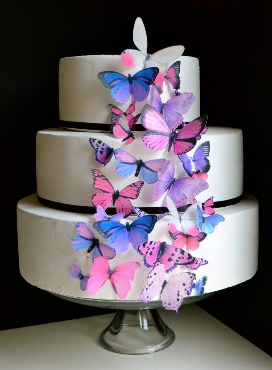 Wedding - Wedding Cake Topper The Original EDIBLE BUTTERFLIES Cake & Cupcake toppers  - Assorted Pink and Purple - set of 30 - Food Accessories