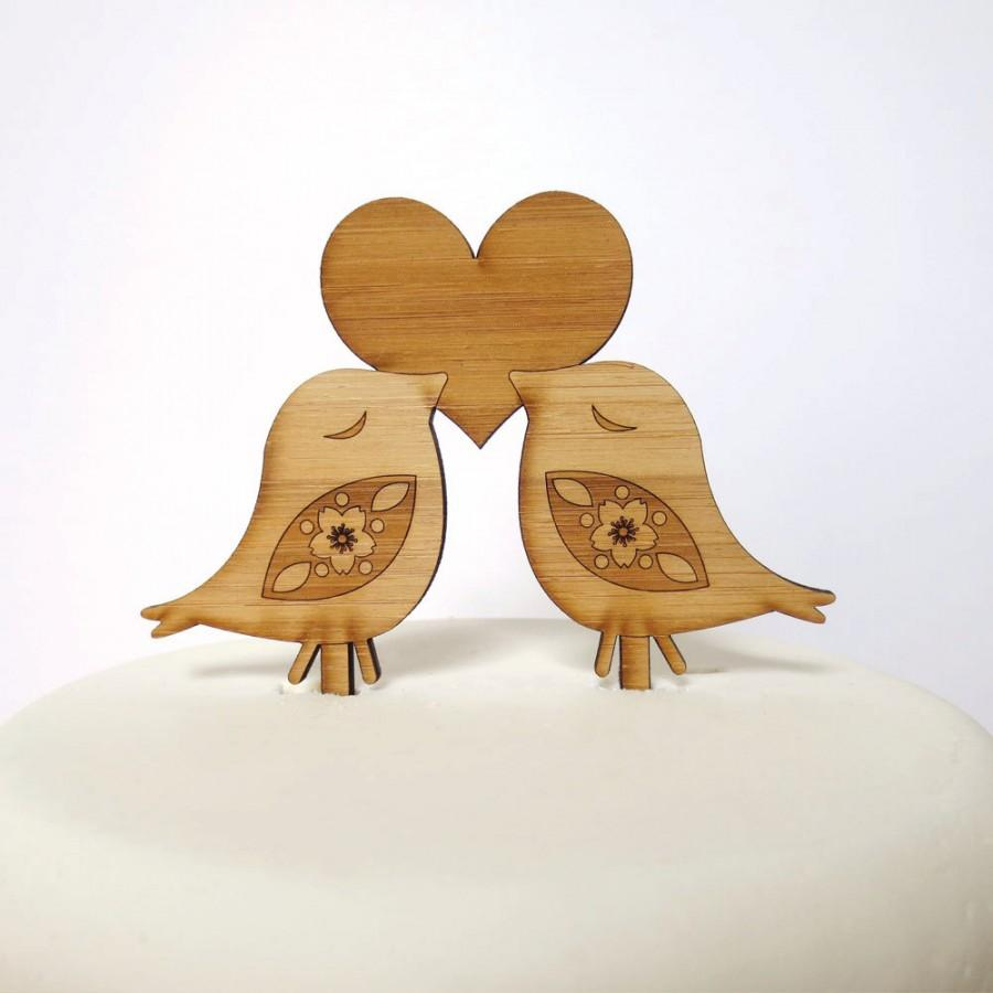 Свадьба - Love Birds Cake Topper - Bamboo - Wedding Cake Topper - Rustic Wedding - Modern Wedding
