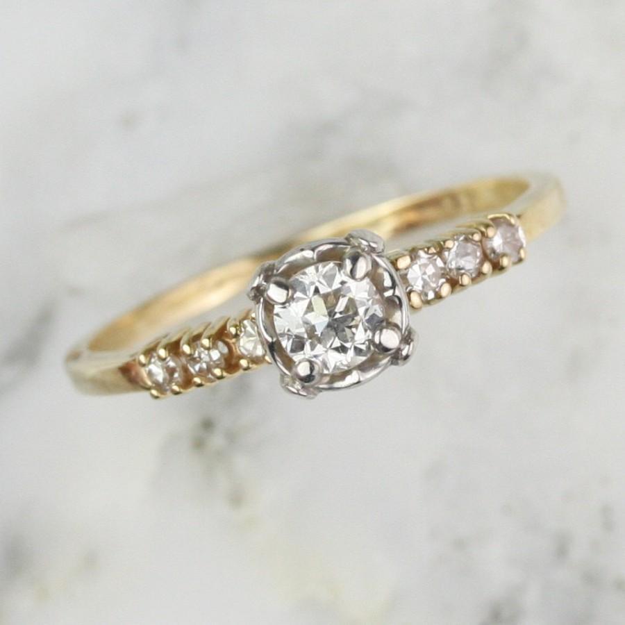 زفاف - Art Deco .43 carat Transitional Cut Diamond Engagement Ring with Diamond Shoulders
