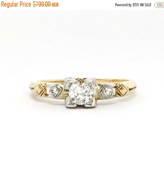 زفاف - SALE Art Deco 1930's .20ct t.w. Old European Cut Diamond Engagement Ring Two Tone 14k