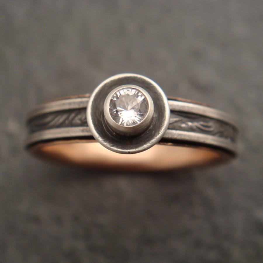 زفاف - Engagement Ring with White Sapphire and 14k Rose Gold - Sunflower
