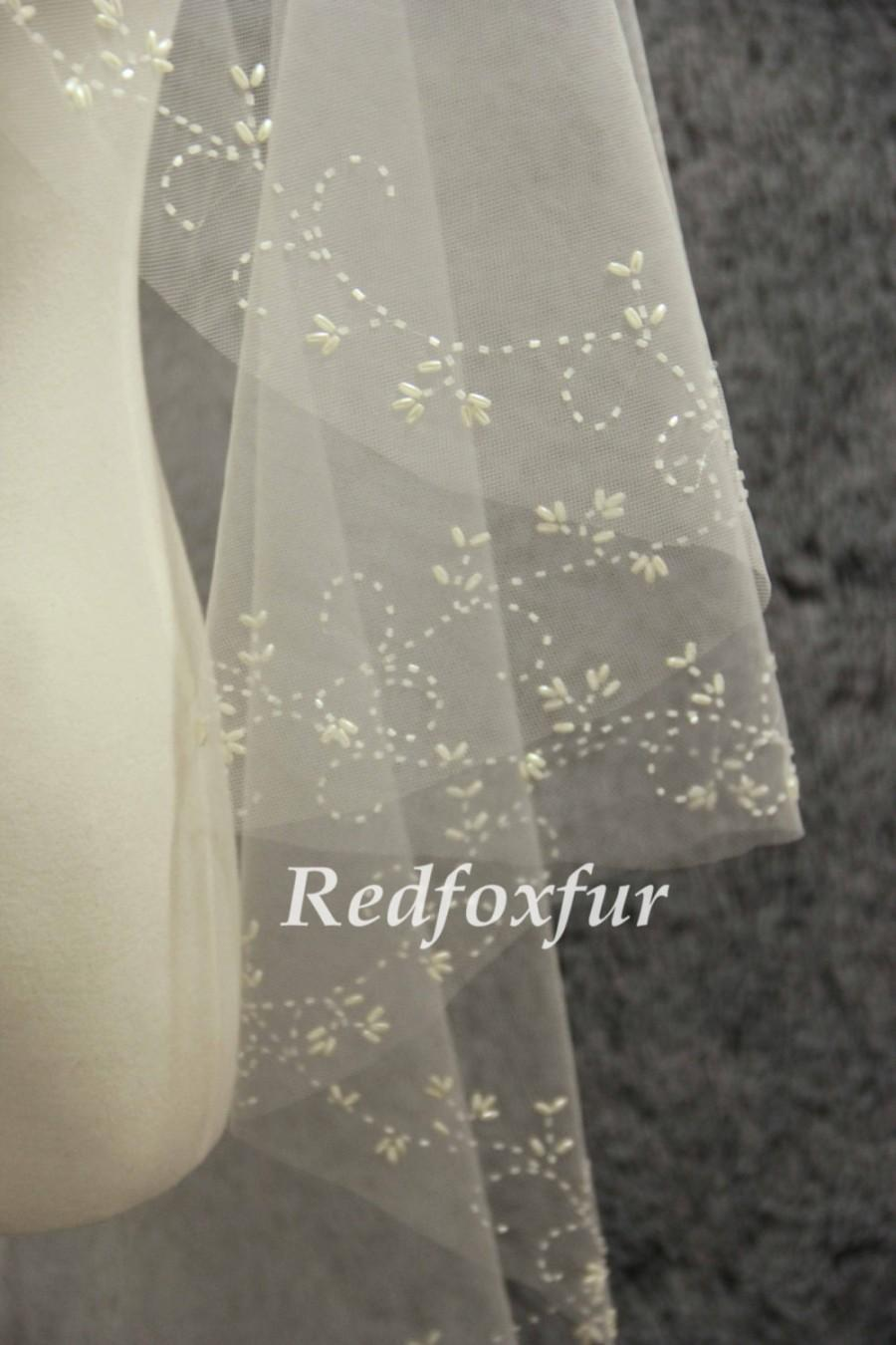 Mariage - Hand-beaded cathedral veil, pearl ivory veil, wedding veil, bridal veil, cathedral wedding veil, wedding headpiece