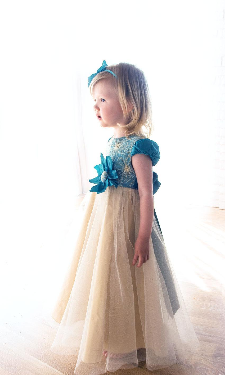 Boda - baby flower dress-gold baby dress-flower girl dress-Handmade in Europe-baby wedding dress-turquoise baby dress-size 18m - 5Y
