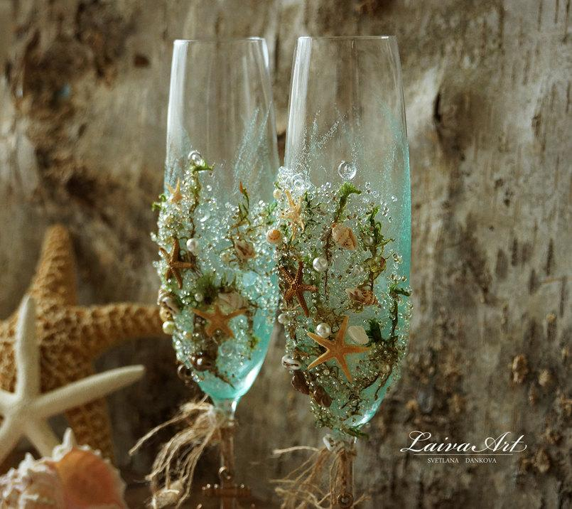 Personalized Beach Wedding Champagne Gles Flutes Toasting