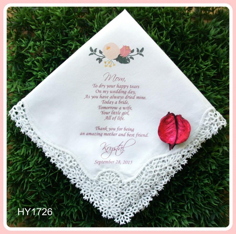 Mariage - Mother of the Bride Handkerchief-Wedding Hankerchief-PRINTED-CUSTOMIZED-Wedding Hankies-Mother of the bride Gift-Mother of the Groom