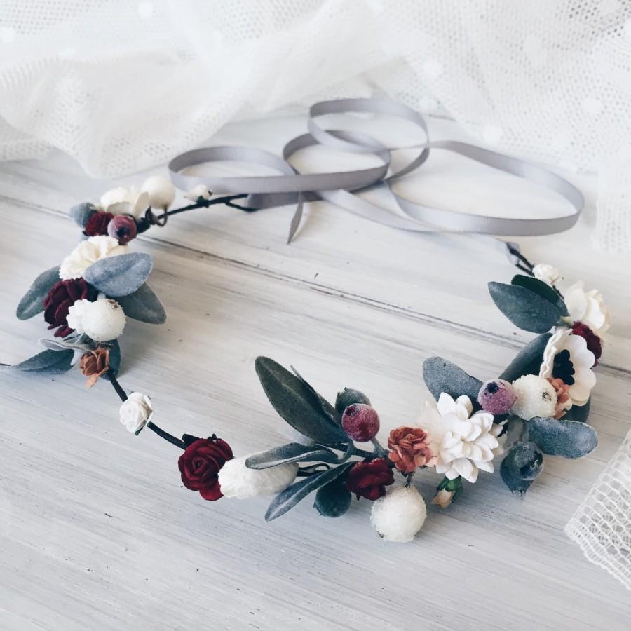 Mariage - Winter Bridal crown, Winter wedding crown, Bridal flower crown,woodland hair, Boho hair wreath, Wedding crown