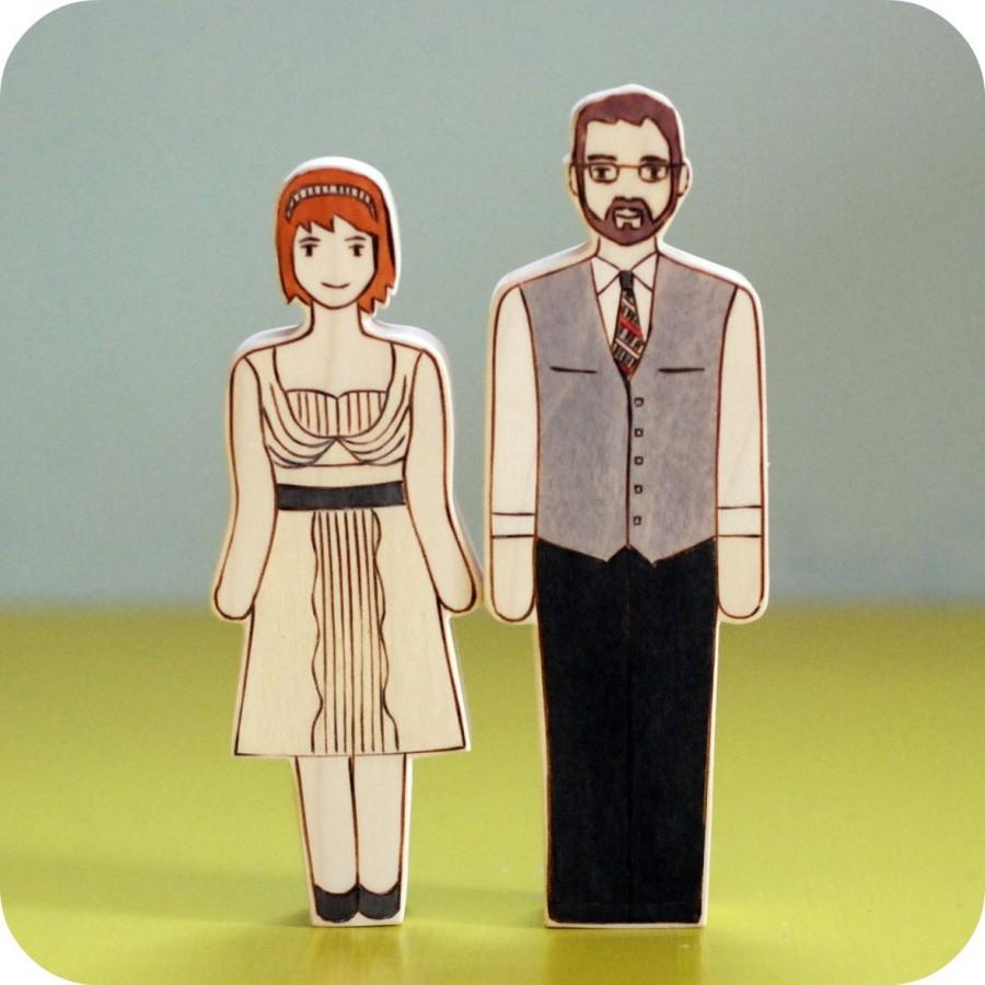 Mariage - Custom Wedding Cake Topper Couple