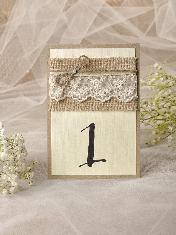 Rustic lace wedding table number for wedding 5 rustic for Table numbers
