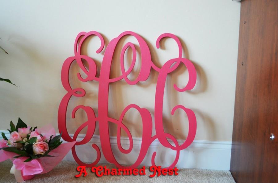 Mariage - 30 inch Unpainted  Vine Connected Wood Monogram Letters - Wedding, Nursery, Home Decor