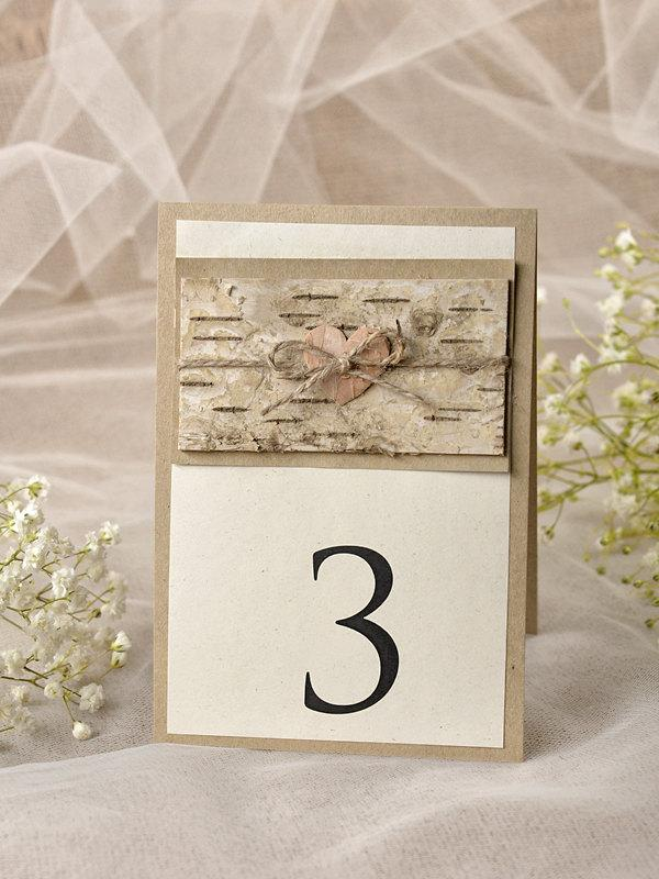 Mariage - Rustic Heart Wedding Table Number, Birch Table Numbers for Wedding (5), Rustic Wedding Table Numbers, Eco Chick Number,