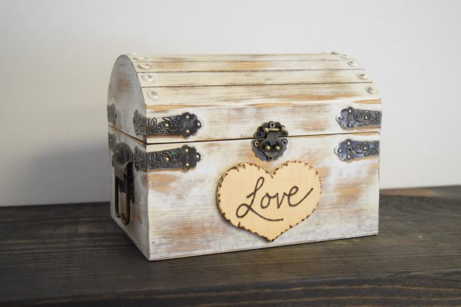 White Distressed Rustic Wooden Card Box Rustic Wedding Card Box