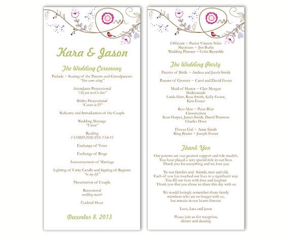 "Свадьба - Wedding Program Template DIY Editable Text Word File Download Program Colorful Wedding Program Bird Floral Program Printable Program 4x9.25"""