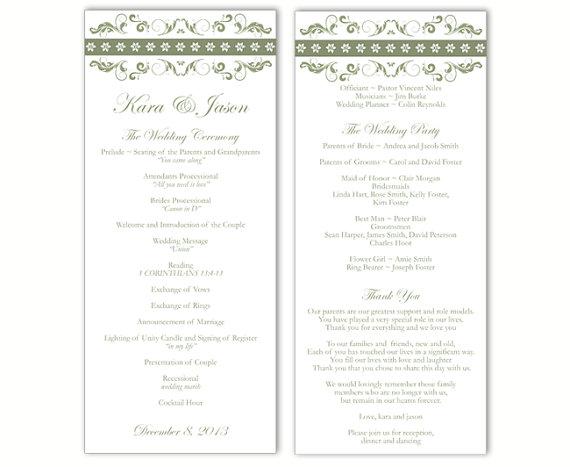 "Свадьба - Wedding Program Template DIY Editable Text Word File Instant Download Program Olive Green Wedding Program Floral Printable Program 4""x9.25"""