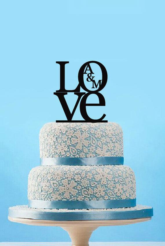 Mariage - Love Cake Topper Custom wedding cake topper, monogram initials cake topper, Uppercase Initials cake topper, Engagement cake topper-4506