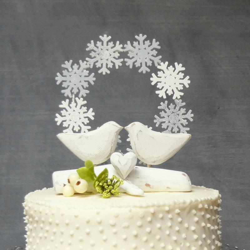 White Wedding Cake Topper, Winter Cake Topper With Love Birds ...