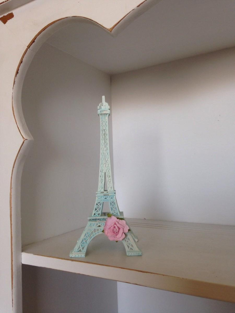Wedding - Blue Eiffel Tower Decorations, Paris Decor, Shabby Chic Paris, Shabby Chic Roses, Parisian Home Decor, Paris Wedding Cake Topper
