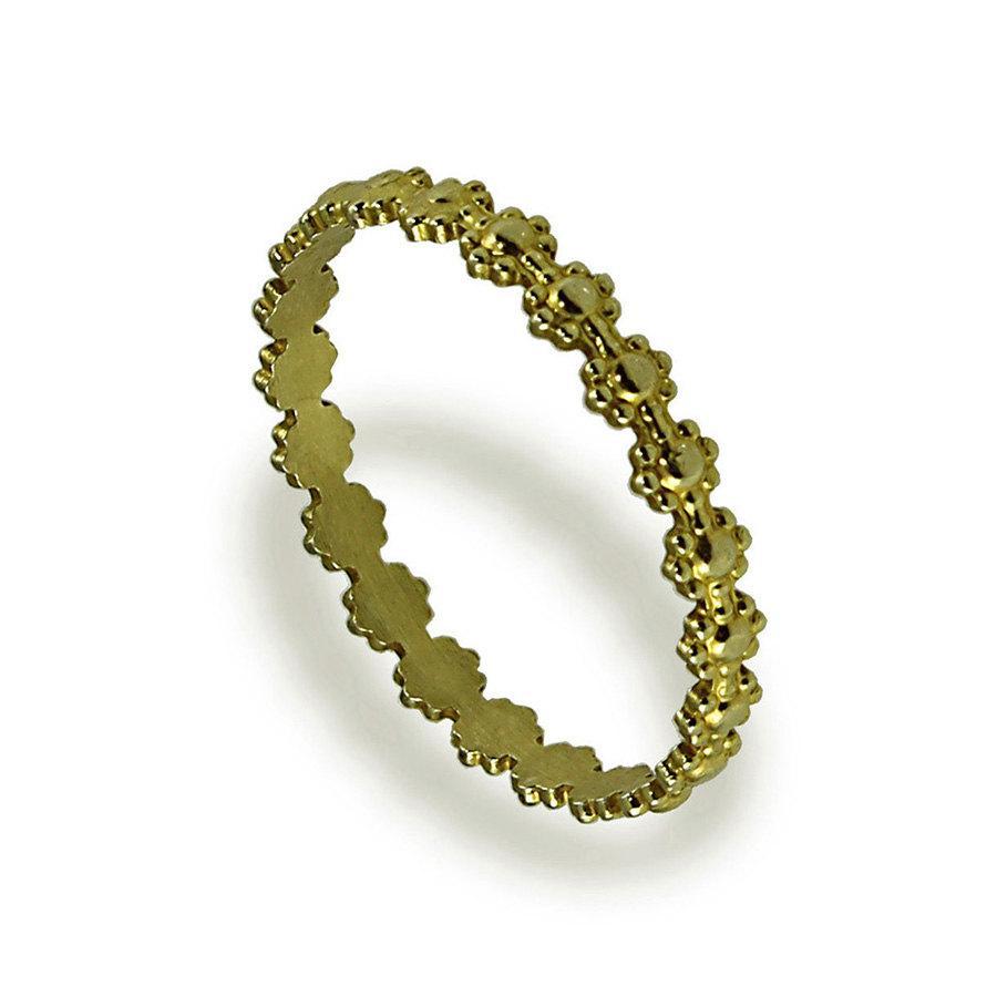 زفاف - Dainty Flower Wedding Band, 14K Yellow Gold Wedding Ring, Women Wedding Band, Thin Gold Wedding Band, Stacking Ring, Mother's Day Ring