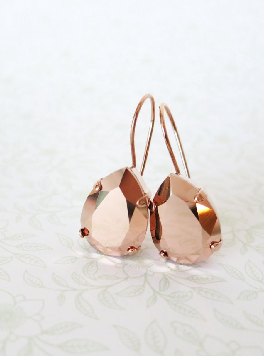 زفاف - Rose Gold Swarovski Crystal Teardrop Earrings, wedding bridal earrings, bridal bridesmaid gifts, pink gold weddings, Philomena
