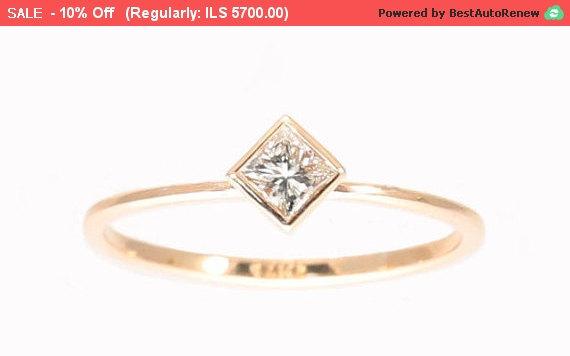 زفاف - Princess Diamond Engagement Ring, Diamond Gold Ring, Solitaire Princess Ring Wedding Bridal Ring, clear princess cut.