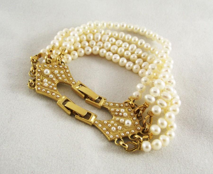 زفاف - Bridal Pearl Bracelet, Freshwater pearl jewelry, Bridal accessories, Vintage Gold pearl bracelet, Tiny pearls inlay, Wedding pearl bracelet