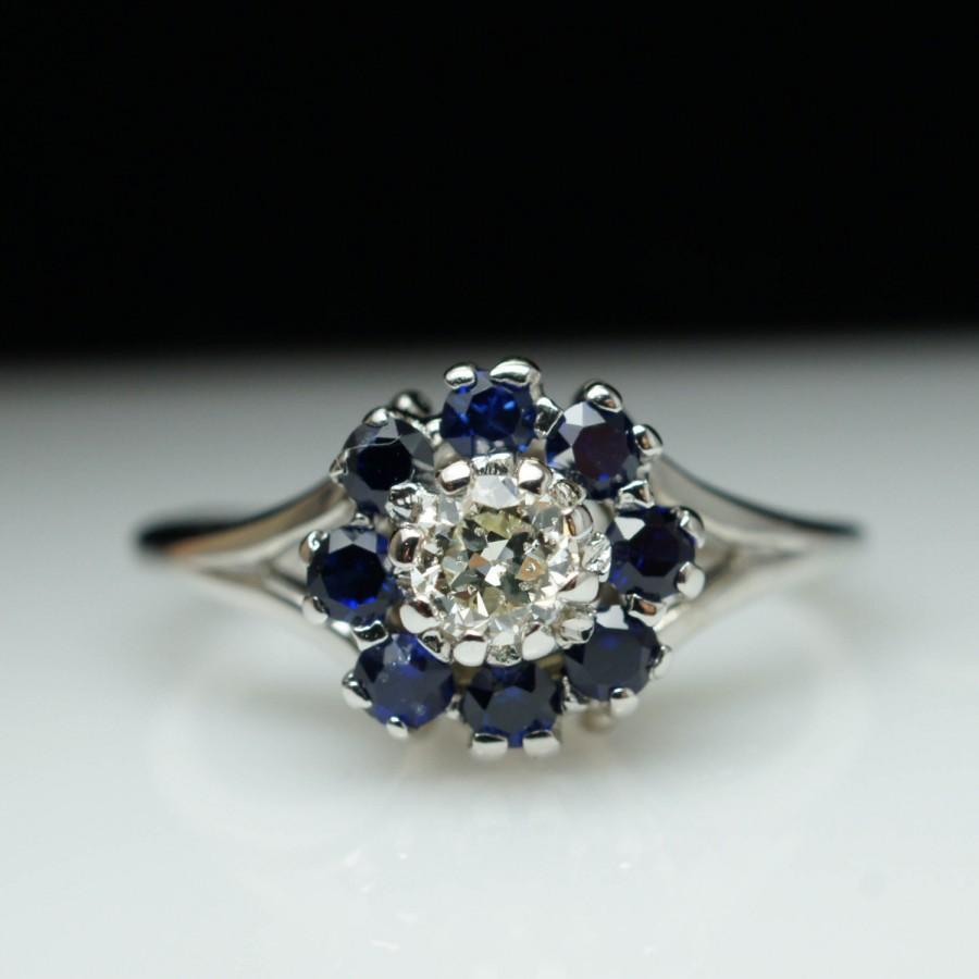 زفاف - Vintage Antique Sapphire & Old European Cut Diamond Cluster Flower Ring - 14k White Gold Retro Jewelry
