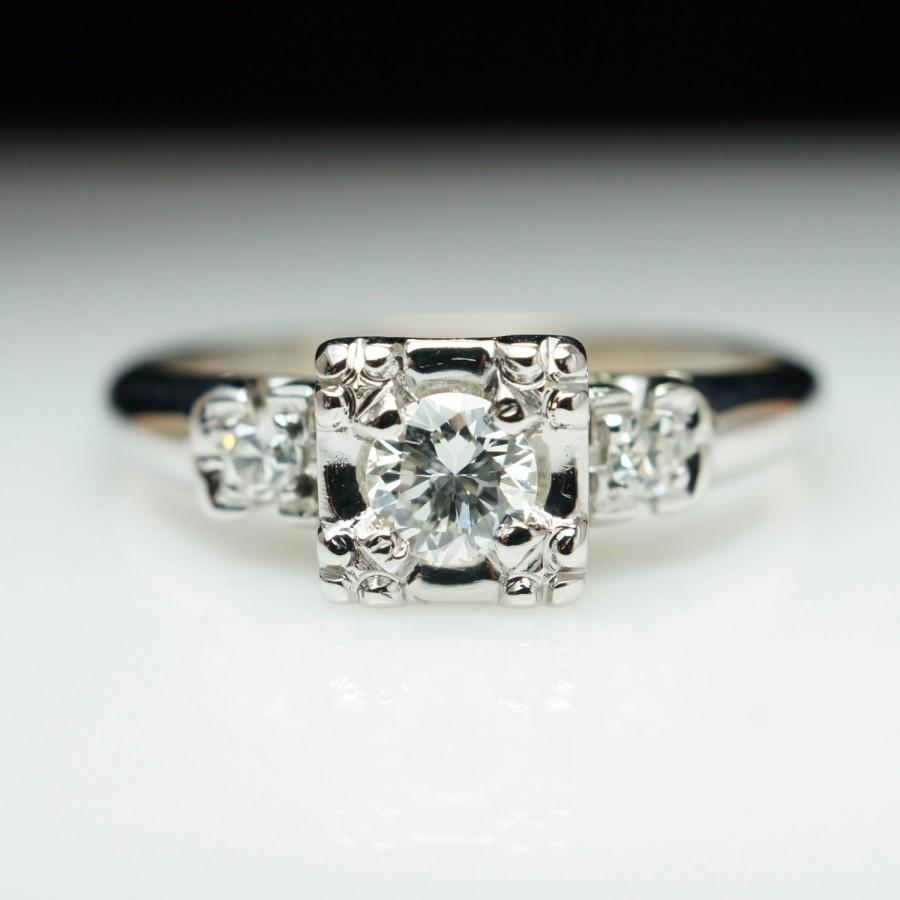 زفاف - Vintage Art Deco Illusion Set Diamond Engagement Ring 14k White Gold