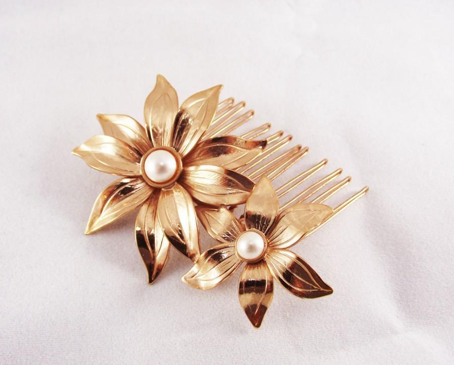 زفاف - Flower Hair Accessories, Rose gold hair comb, Swarovski's pearls hairpiece, Bridal Hair Adornment, Wedding Jewelry