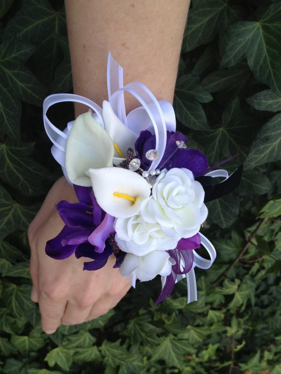 Hochzeit - 2 pc. Purple and White Real Touch Silk Wrist Corsage and Boutonniere Combo For Weddings or Prom / Wrist Corsage / Prom Corsage