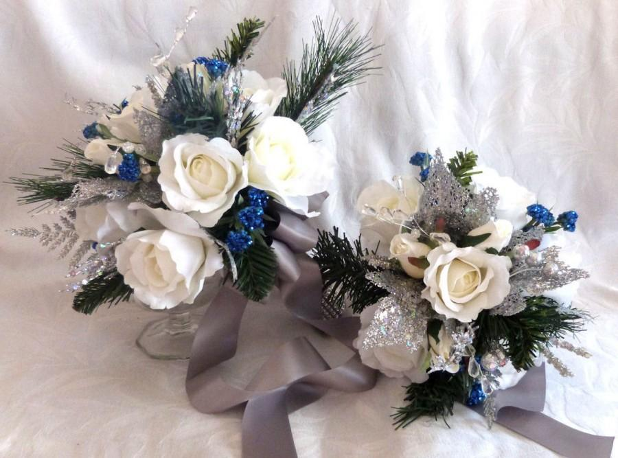 Silver White And Blue Winter Wedding Bouquet And Boutonniere Roses ...