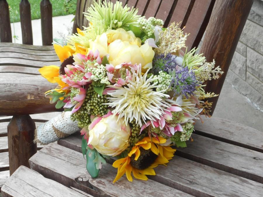 Sunflower Peonies And Wild Flowers Rustic Wedding Bouquet Silk Bridal Country