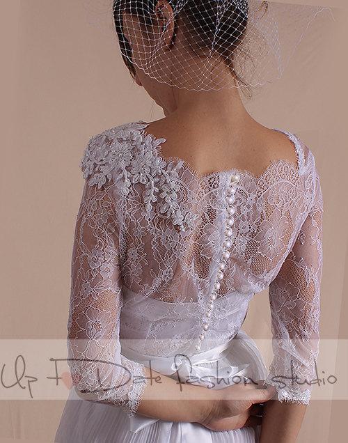 زفاف - Unique/Wedding romantic chantilly lace top dress/ 3/4 Sleeves/ with Sequins Flower Beaded  Applique