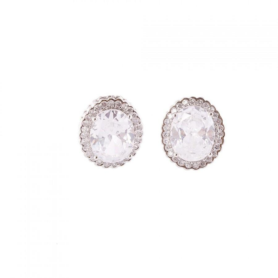 زفاف - Vintage Style Earrings, Bridal Oval Crystal Earrings ,Vintage Stud Earrings , Crystal CZ  Earrings ,Wedding Jewelry, Bridesmaid Earrings
