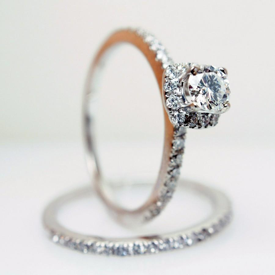 Sale Solitaire Halo Diamond Engagement Ring & Wedding Band In 14k White  Gold Size 6  (complete Bridal Wedding Set)