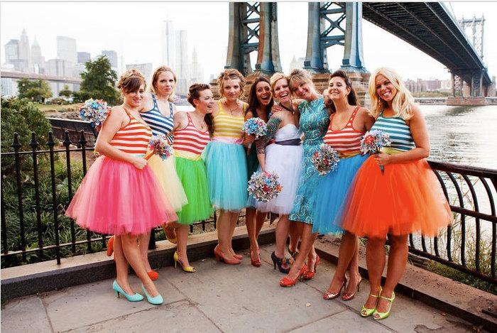Wedding - Knee Length Tulle Tutu Skirt with Satin Sash Customize your Colors Bridal Party