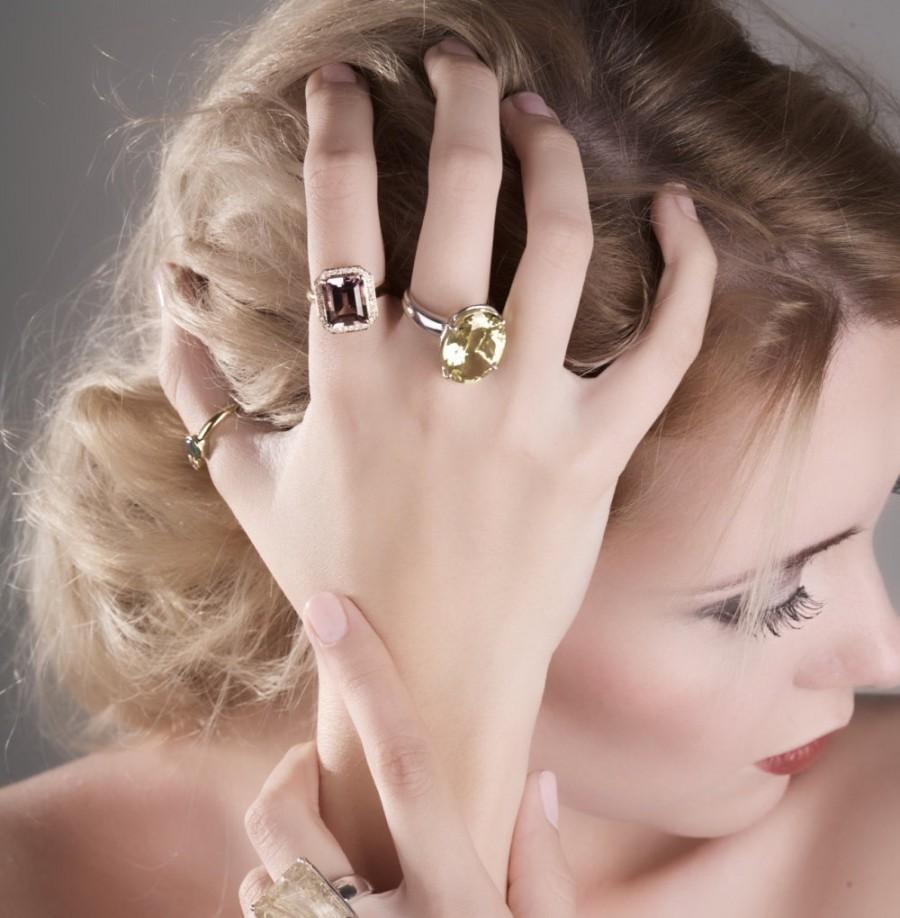 Ametrine Emerald Cut And Diamond Halo 14k Yellow Gold Engagement ...