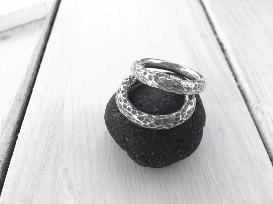 Mariage - Sterling Silver Band Ring, Engagement Ring, Thick Solid Rounded Band Stackable Ring, Minimalist Men Women Ring, Hand Crafted Made To Order