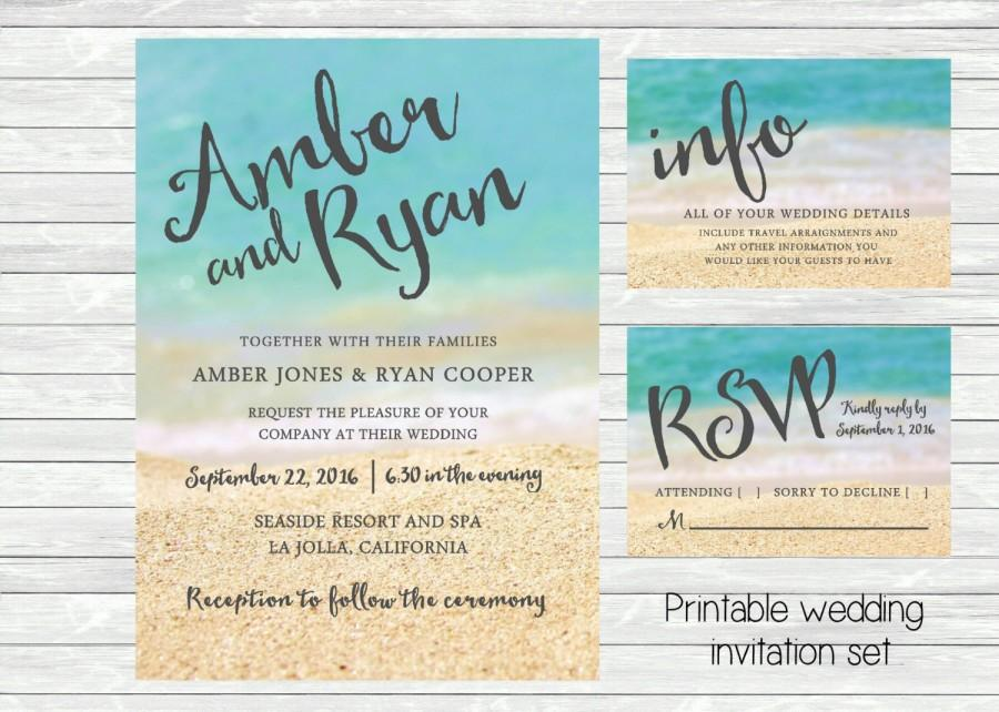 زفاف - Beach wedding invitation. Ocean and sand in the background. Printable file. JPG or PDF available. Tropical, beach wedding theme.