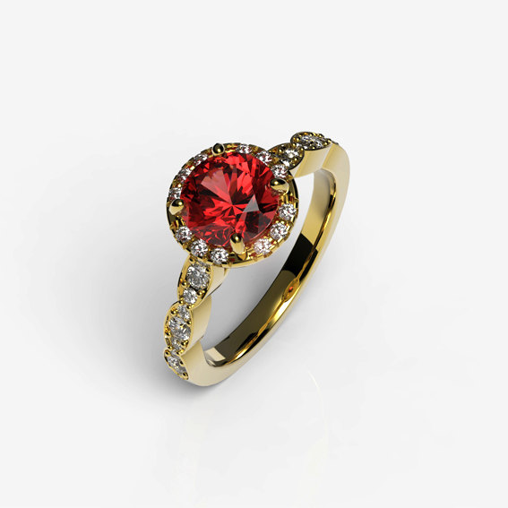 Mariage - Engagement Ring with Red Ruby in 14K Yellow Gold and Round Halo Set with Diamonds, Custom Wedding Jewelry.