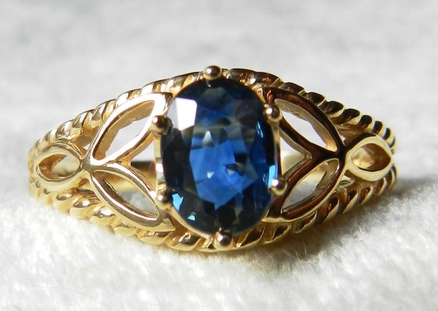 Mariage - Sapphire Ring Blue Sapphire Engagement Ring 14K Unheated Ceylon Blue Sapphire Celtic Trefoil 1.10 Ct Sapphire Engagement Ring September