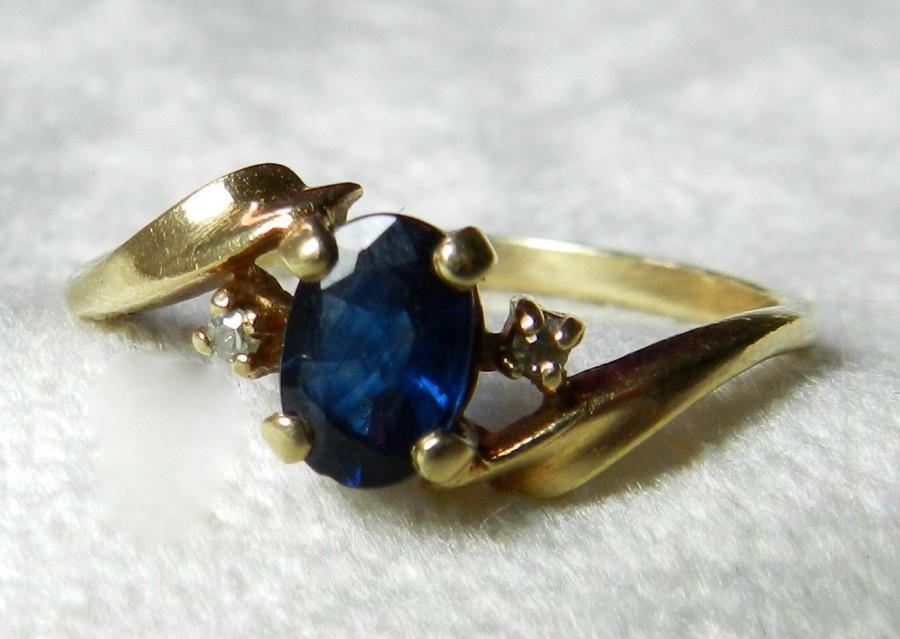 Mariage - Sapphire Engagement Ring Genuine Blue Sapphire Vintage Ring Genuine Diamond 10K September Birthday
