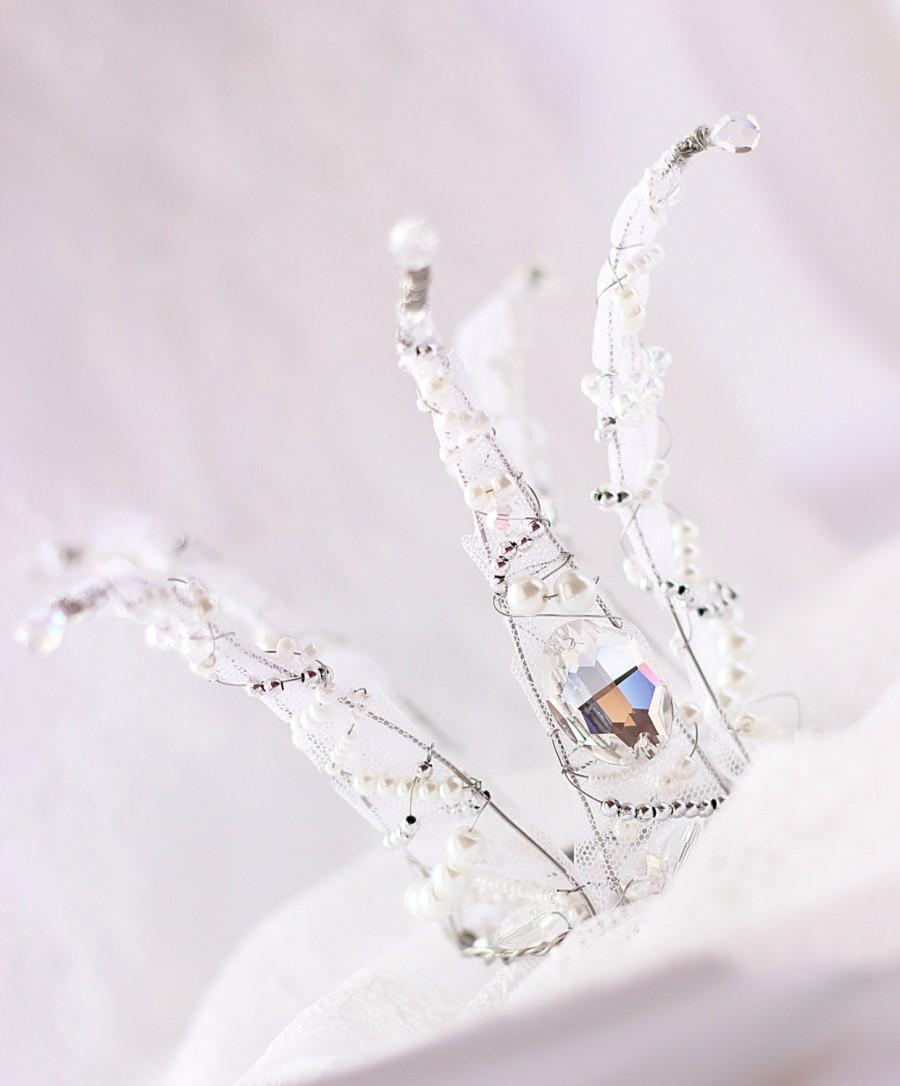 زفاف - White Crown, Baby Crown, Newborn crown, Baby Headband, Newborn Headband, Baby girl birthday, Crown for kids, Photo Prop, Princess Tiara