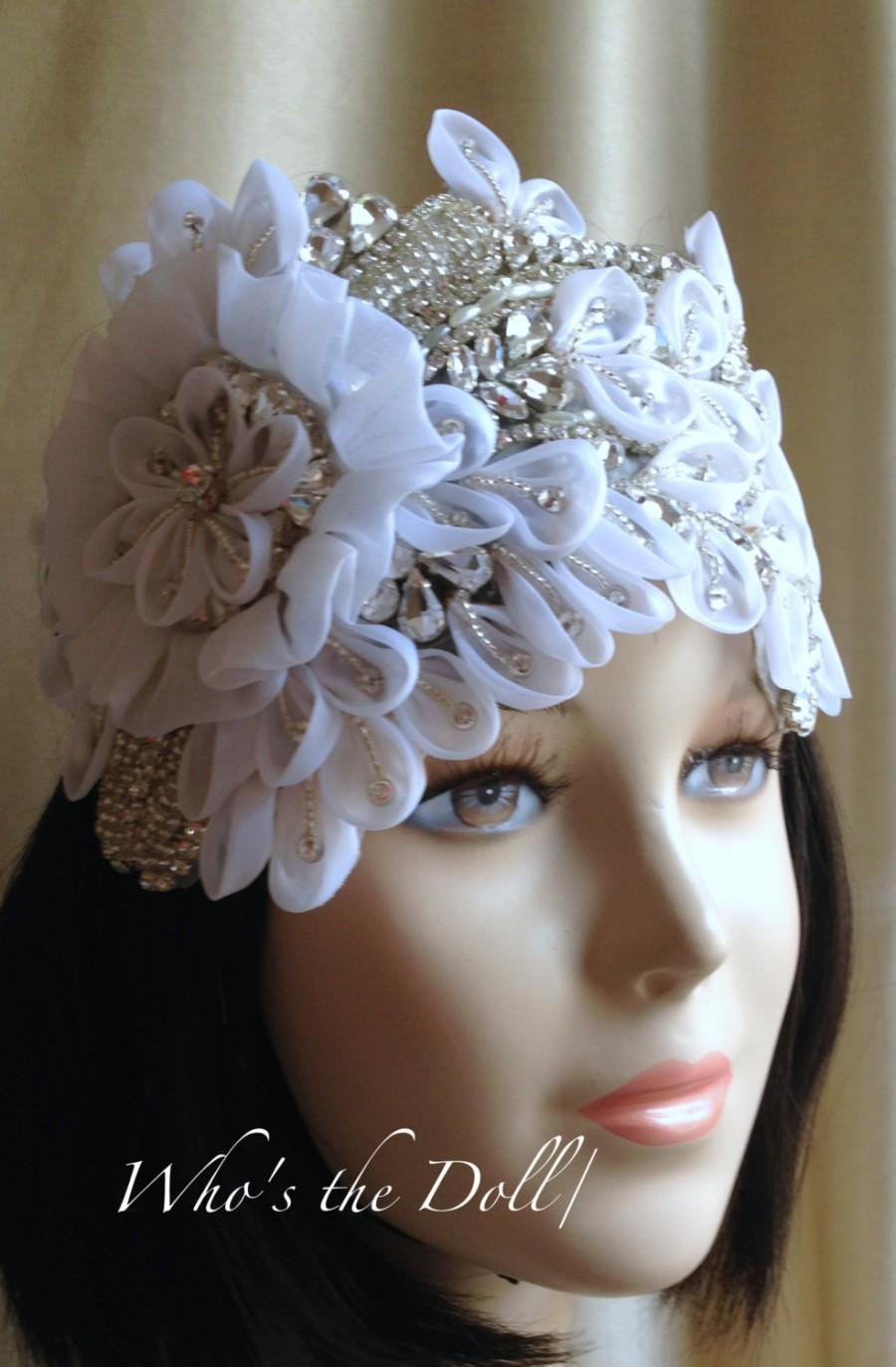 زفاف - Rhinestone Bridal headpiece/Beaded headpiece/Vintage style headpiece/Statement piece/Downton Abbey style headpiece/High Quality headpiece