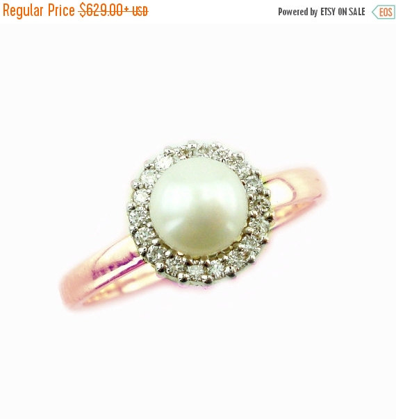 Christmas SALE Pearl Engagement Ring, Unique Pearl Ring