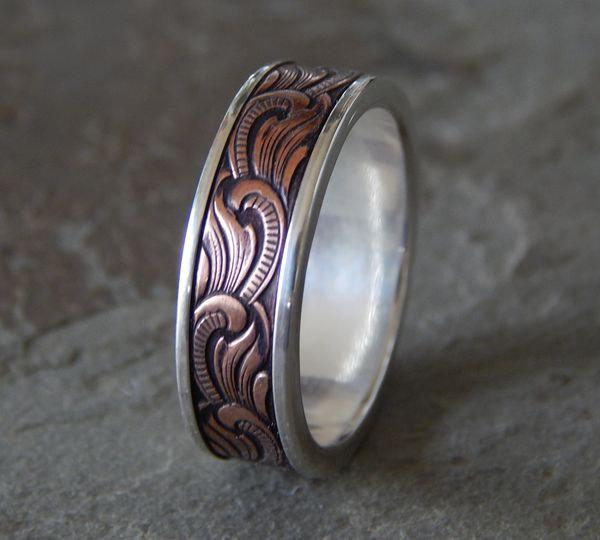 Paisley Silver Amp Copper Men S Wedding Ring Women S