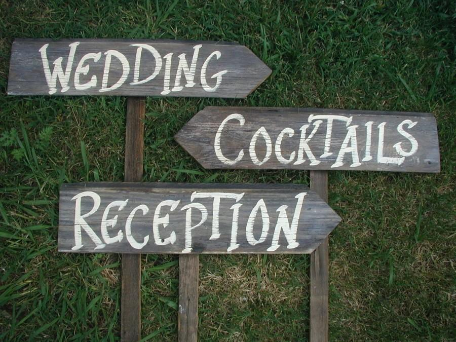 Set Of 3 Rustic Wood Wedding Directional Stake Signs