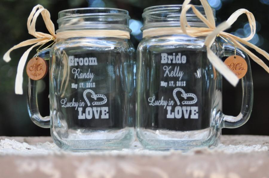 Western Wedding Table Setting   Lucky In Love Mason Jar Mugs   Personalized  Bride And Groom Toasting Glasses